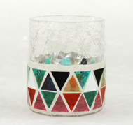 Glowing Montage Mosaic Crackle Glass Votive Candle Holder Yankee Candle