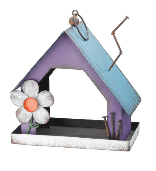 Country Flower Barn Metal Hanging Bird Feeder