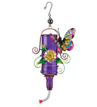 Purple Butterfly Glass Hummingbird Feeder