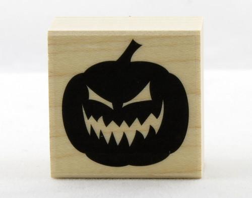 Evil Jack O' Lantern Pumpkin Wood Mounted Rubber Stamp Hero Arts