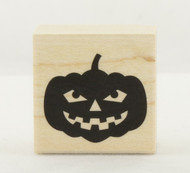 Classic Jack O'Lantern Pumpkin Wood Mounted Rubber Stamp Hero Arts