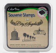 LA Souvenir Foam Mounted Rubber Stamp & Ink Pad Collection Colorbox