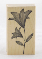 Lily with Stem Wood Mounted Rubber Stamp Hero Arts