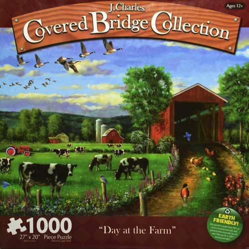 Day At The Farm 1000 Piece Jigsaw Puzzle J. Charles Covered Bridge Collection