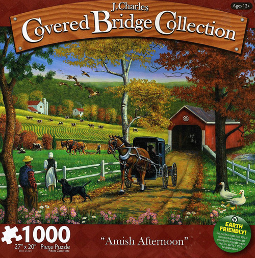 Amish Afternoon 1000 Piece Jigsaw Puzzle J. Charles Covered Bridge Collection