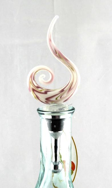 Purple Swirl Art Glass Metal Bottle Topper