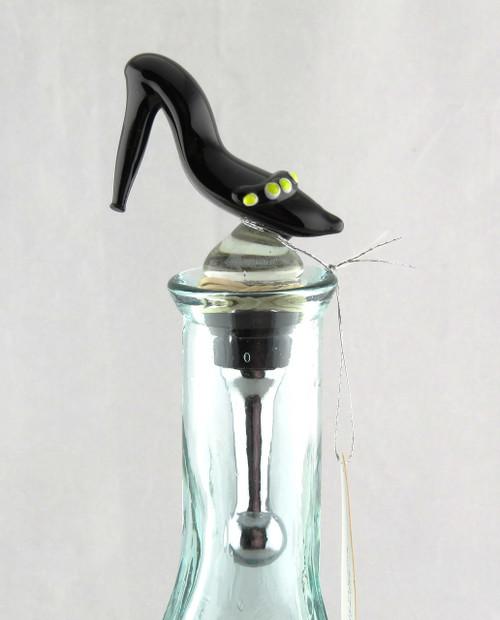 Black High Heel Ladies Shoe Art Glass Metal Bottle Topper