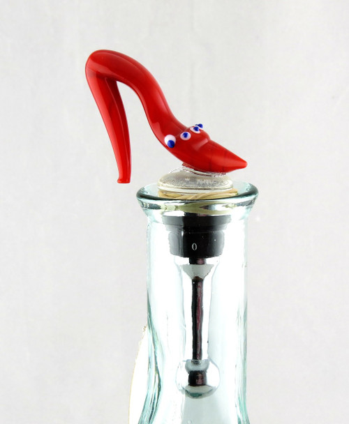 Red High Heel Ladies Shoe Art Glass Metal Bottle Topper