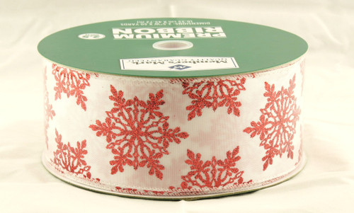 Red Sparkle Snowflakes on White Satin Wide Wired Ribbon 50 yards