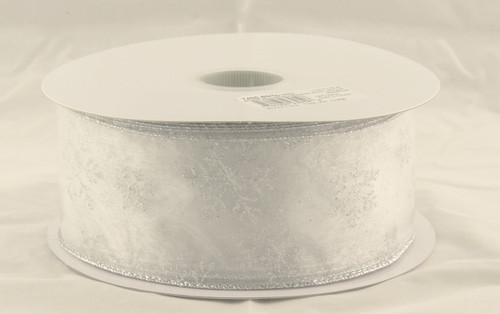 Silver Sparkle Snowflake on Sheer White Wide Wired Ribbon 50 Yards