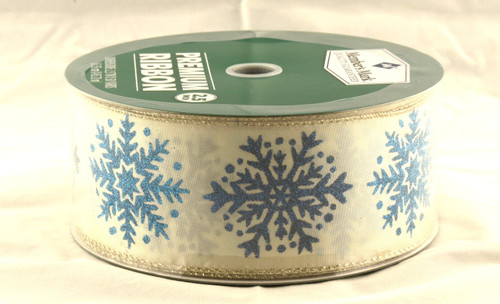 Blue Sparkle Snowflake on Champagne Satin Wide Wired Ribbon 50 Yards