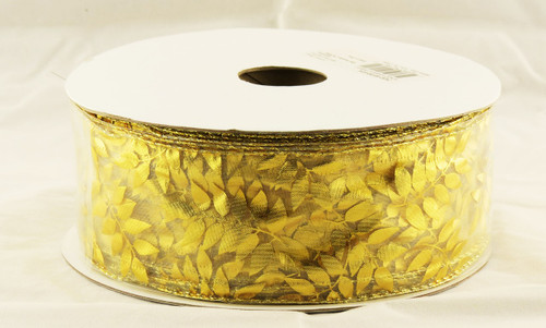 Gold Metallic Vine on Sheer Wide Wired Ribbon 50 Yards