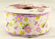 Pink Spring Flowers on Solid White Wide Wired Ribbon 50 Yards