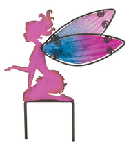 Pink Fairy Metal Glass Small Garden Stake Regal Gifts