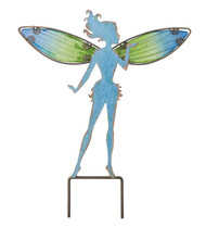 Blue Fairy Metal Glass Small Garden Stake Regal Gifts