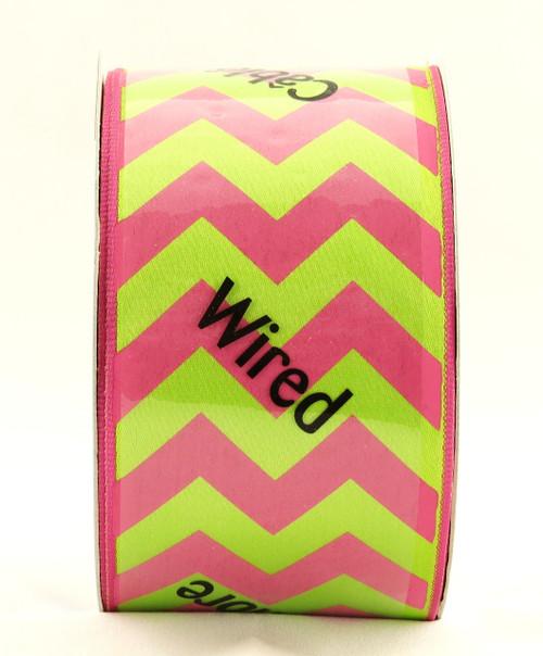 Pink Citrus Bold Chevron Stripe Wide Wired Ribbon 25 Yards