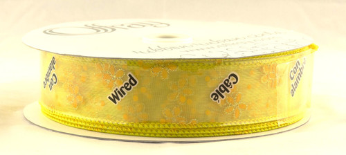 Yellow Daisy on Sheer Yellow Wired Ribbon 50 Yards