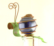 Blue Snail Bug Patch Glass Metal Pot Sticker Garden Stake