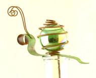 Green Irridescent Snail Bug Patch Glass Metal Pot Sticker Garden Stake
