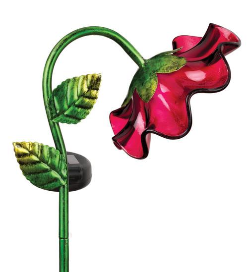 Red Glass Bell Flower Solar Light Garden Stake