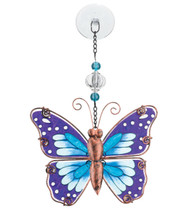 Purple Butterfly Hand Painted Glass Sun Catcher