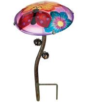 Ladybug Glow In The Dark Glass Mushroom Garden Stake