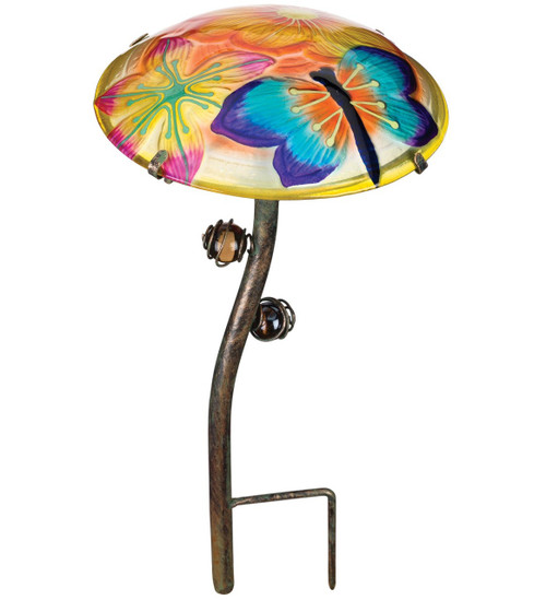 Dragonfly Glow In The Dark Glass Mushroom Garden Stake