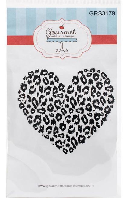 Leopard Print Heart Cling Rubber Stamp Gourmet