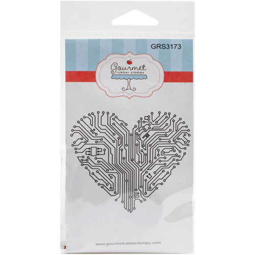 Circuit Board Heart Cling Rubber Stamp Gourmet