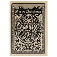 Christmas Playing Card Wood Mounted Rubber Stamp Inkadinkado
