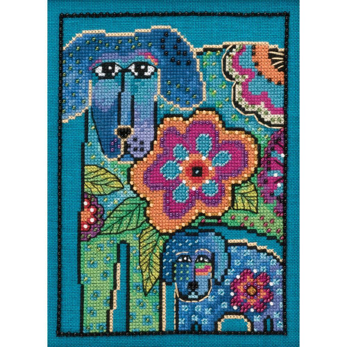Petunia and Rose Counted Cross Stitch Kit Laurel Burch Mill Hill