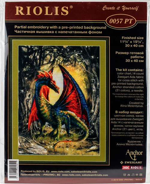 Forest Dragon Counted Cross Stitch Kit Riolis
