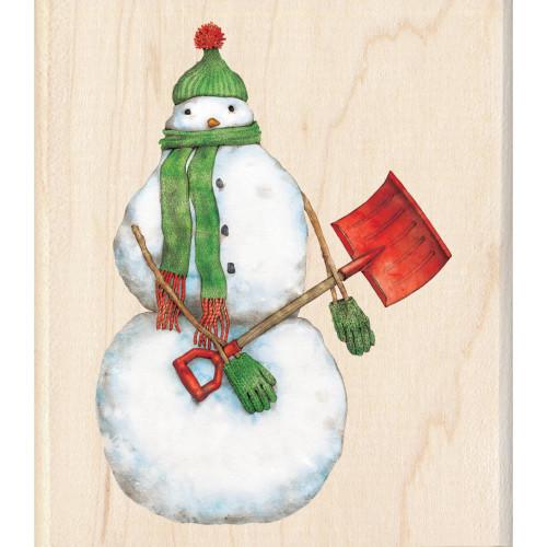 Snowman Shoveler Wood Mounted Rubber Stamp Inkadinkado
