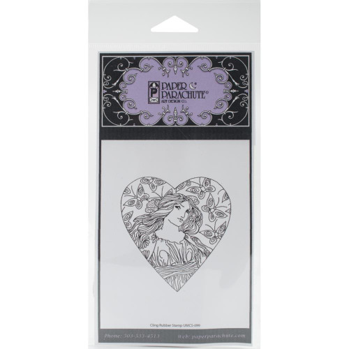 Butterfly Woman Heart Rubber Cling Stamp Paper Parachute