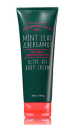 Mint Leaf Bergamot Olive Oil Body Cream Bath and Body Works 8oz