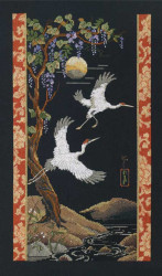 Cranes on Black Cross Stitch Kit Platinum Collection by Janlynn