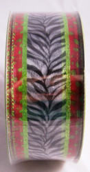 Zebra Print Wide Wired Ribbon 50 yards Green Red Leopard Trim