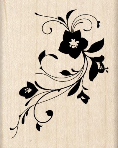 Flower Florish Inkadinkado Wood Stamp