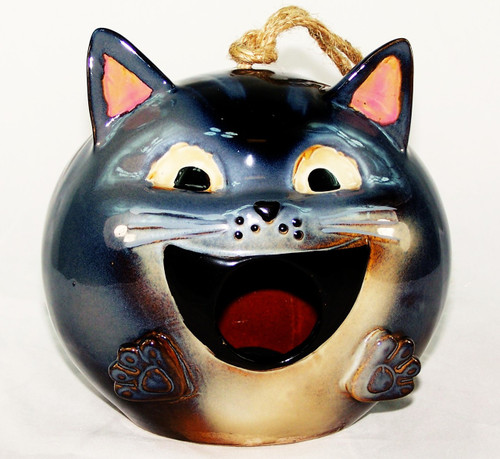 Whimsical Ceramic Cat Bird House-Buy now at Archway Variety