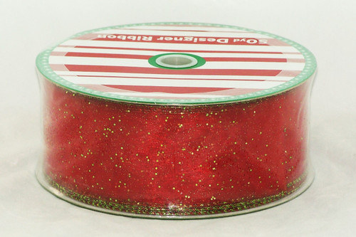 Click here to buy Red Sheer Green Sparkled Wide Wired Ribbon