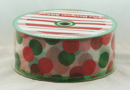 Shop now for Red Green Polka Dot on White Sheer Wired Ribbon
