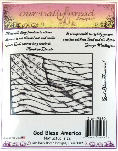 Click here to buy God Bless America Cling Stamp Set from Our Daily Bread