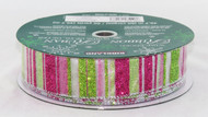 Click here to buy Pink Green Sparkle Stripe Wired Ribbon!