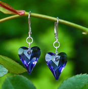 Wild Heart Earrings in Sterling Silver Tanzanite