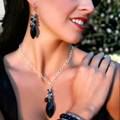 Navette Cluster Necklace in Sterling Silver Black Tie shown with the Navette Cluster Earrings in Black Tie, Pearl Stretch Bracelets in Light Gray, Dark Gray & Mystic Black, and Swarovski Crystal Stretch Bracelets in Crystal (Clear), Jet (Black), & Black Diamond.