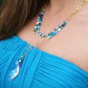 Navette Double Necklace in Ocean