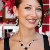 Black Tie Dangle Necklace shown with the Black Tie Cluster Earring.