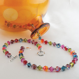 Classic Necklace in Sterling Silver Dark Multi shown with the Classic Bracelet in Dark Multi.