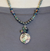 Abalone &amp; Pearl Cluster Necklace