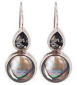 Abalone &amp; Swarovski Black Diamond Earrings